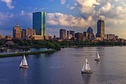 River Tapestries Textiles Prints - Boston Skyline Print by Rick Berk