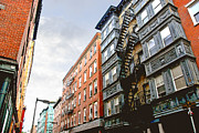 Fire Escape Metal Prints - Boston street Metal Print by Elena Elisseeva
