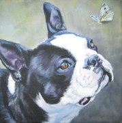 Pets Paintings - boston Terrier butterfly by Lee Ann Shepard