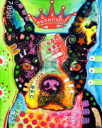Pet Portrait Paintings - Boston Terrier Crowned by Dean Russo
