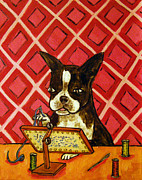 Needlepoint Paintings - Boston Terrier Doing Needlepoint by Jay  Schmetz