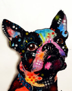 Pet Portrait Paintings - Boston Terrier II by Dean Russo