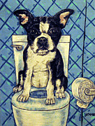 Boston Terrier Art Paintings - Boston Terrier in the Bathroom by Jay  Schmetz