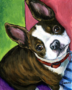 Boston Painting Metal Prints - Boston Terrier Looking Up Metal Print by Dottie Dracos