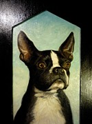 Boston Terrier Art Paintings - Boston Terrier Portrait Painting by June Ponte