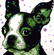 Animal Mixed Media Metal Prints - Boston Terrier Puppy Metal Print by Dean Russo