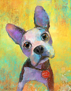 Portrait Artist Prints - Boston Terrier Puppy dog painting print Print by Svetlana Novikova