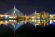 Charles River Photo Prints - BOSTON Zakim Bridge Reflections Print by Shane Psaltis