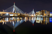 Charles River Posters - BOSTON Zakim Memorial Bridge Nightscape II Poster by Shane Psaltis