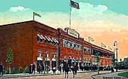 Baseball Stadiums Painting Framed Prints - Bostons Fenway Park In 1914 Framed Print by Dwight Goss