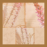 Pink Blossoms Mixed Media Posters - Botanical Collage Poster by Bonnie Bruno