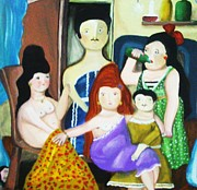 Indiana Autumn Painting Prints - Botero Style Family Print by Vickie Meza