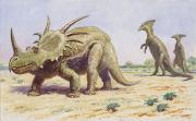 Parasaurolophus Prints - Both The Styracosaurus Right Print by Charles R. Knight