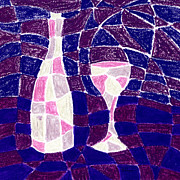 Pattern Pastels Prints - Bottle and Glass 3 Print by Hakon Soreide