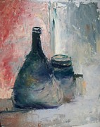Wine Bottle Paintings - Bottle and Jar by Sarah Farren