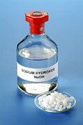 Caustic Posters - Bottle And Pellets Of Sodium Hydroxide Poster by Martyn F. Chillmaid