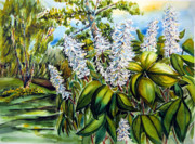 Helen Mixed Media Posters - Bottle Brush Buckeye Tree Poster by Helen Kern