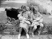Evacuee Prints - Bottle Feeding Print by Reg Speller
