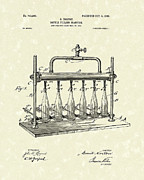 Patent Drawings Prints - Bottle Filling Machine 1903 Patent Art Print by Prior Art Design