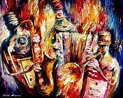 Bottle Painting Posters - Bottle Jazz Poster by Leonid Afremov
