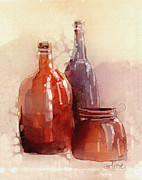 Bottle Art - Bottle Jug And Jar by Arline Wagner