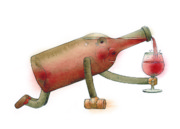 Birthday Drawings - Bottle by Kestutis Kasparavicius