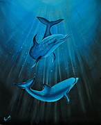 Raining Paintings - Bottle-nose Dolphins by Preethi Mathi