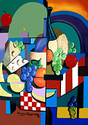 Cubist Posters - Bottle Of Wine Fruit Of The Vine Poster by Anthony Falbo