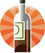 Red Wine Bottle Prints - Bottle Of Wine Print by New Vision Technologies Inc