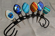 Dichroic Art Glass Glass Art Originals - Bottle Stoppers by Sandy Feder