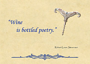 Wine Illustrations Digital Art Prints - Bottled Poetry Print by Elaine Plesser