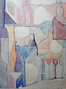 Abstract Composition Paintings - Bottles And Glasses by Ana Maria Edulescu