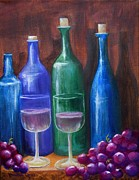 Blue Grapes Framed Prints - Bottles and Grapes Framed Print by Pauline Ross