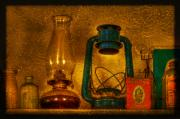 Lamp Digital Art Posters - Bottles and Lamps Poster by Evelina Kremsdorf