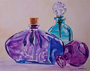 Turquoise Stained Glass Painting Prints - Bottles and Stoppers Print by Jenny Armitage