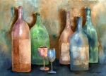 Wine Glass Posters - Bottles Poster by Arline Wagner