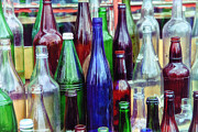 Old Glass Prints - Bottles For Sale Print by Karol  Livote
