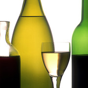 Glasses Photos - Bottles of variety vine by Bernard Jaubert