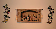 Food And Beverage Tapestries - Textiles Metal Prints - Bottles Of Wine Metal Print by Charlotte EVONNE Comfort