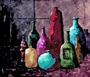 Glass Bottle Mixed Media Posters - Bottles Revisited Poster by Phyllis Howard