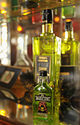 Bottle Green Posters - Bottles with Absinthe in Bar Poster by Matthias Hauser