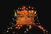 Ktm Framed Prints - Bouddhanath stupa with illumination at night in Kathmandu Framed Print by Anastasiia Kononenko