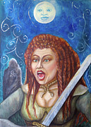 Celts Painting Posters - Boudicca  Let not our Daughters be Forgotten Poster by Janice T Keller-Kimball