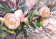 Dramatic Mixed Media Originals - Boudoir Pink Camellias by Barbara Jung