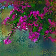 Garden Scene Mixed Media - Bougainville Delight by Seema Sayyidah