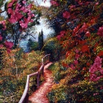 Fences Paintings - Bougainvillea Path Tuscany by David Lloyd Glover