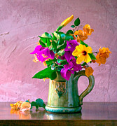 Colourfull Photos - Bougainvilleas in a green jar. Valencia. Spain by Juan Carlos Ferro Duque