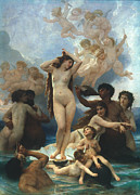 Goddess Birth Art Framed Prints - Bouguereau: Birth Of Venus Framed Print by Granger