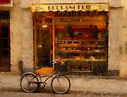 France Framed Prints - Boulangerie and Bike Framed Print by Mick Burkey
