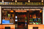 Impressionist Art Digital Art Prints - Boulangerie Patisserie . Bread and Pastry Shop Print by Wingsdomain Art and Photography